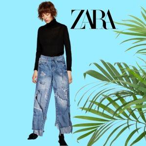 Zara high rise ripped cut off ankle zip jeans med